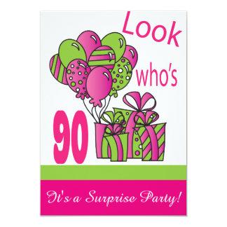 """Mire quién es 90.o cumpleaños del 90% el pipe% invitación 5"""" x 7"""""""