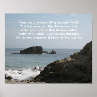 Mire sus pensamientos. Se convierten en palabras… Posters