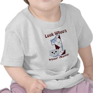 Mire Whoo 1 camiseta del cumpleaños de los muchach
