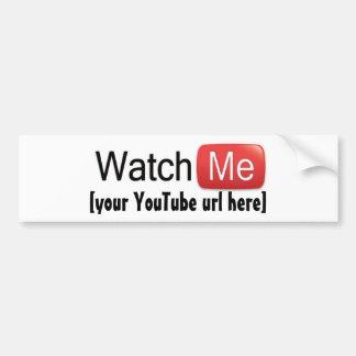 Míreme en YouTube (básico) Etiqueta De Parachoque