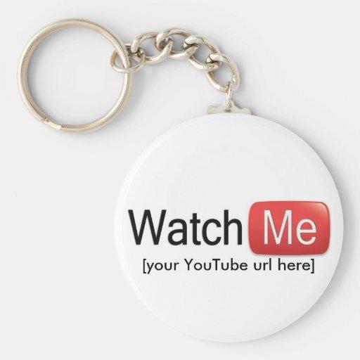 Míreme en YouTube (básico) Llavero Redondo Tipo Pin