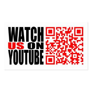 Mírenos en YouTube (moderno) Tarjetas De Visita
