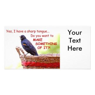 Mirlo de alas rojas divertido tarjetas personales