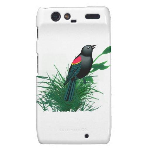 Mirlo de alas rojas en hierba alta droid RAZR carcasa