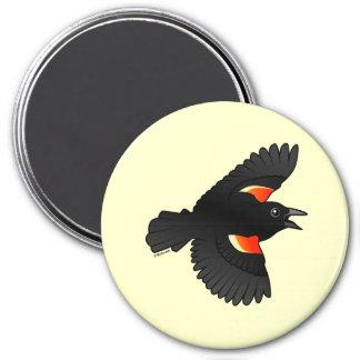 Mirlo de alas rojas que vuela imán redondo 7 cm