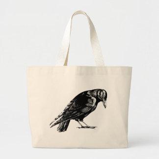 Mirlo de cuervo antiguo RavenTotebag Bolsa Tela Grande