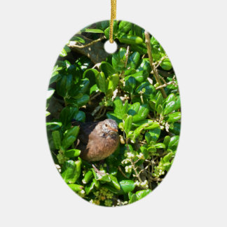 Mirlo en un arbusto del laurel adorno navideño ovalado de cerámica