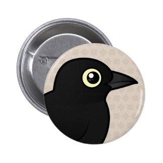 Mirlo oxidado de Birdorable Pin Redondo De 2 Pulgadas