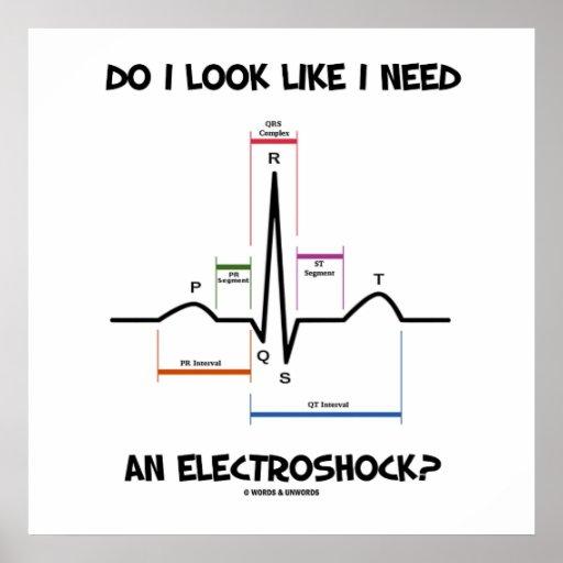 ¿Miro como necesito un Electroshock? EKG ECG Póster