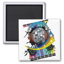 mirror-ball, club, disco, hip-hop, music, art, illustration, graphic, design, techno, house-music, rock, dance, 1980, 1970, 80s, 70s, soul, colorful, clubs, Ímã com design gráfico personalizado
