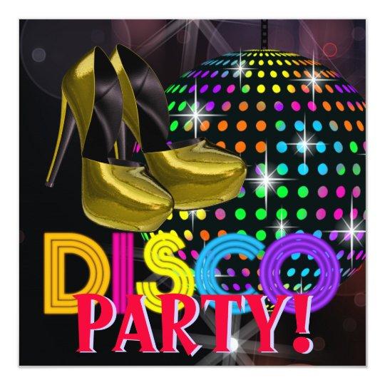 mirror ball disco dance party invitations | zazzle, Party invitations
