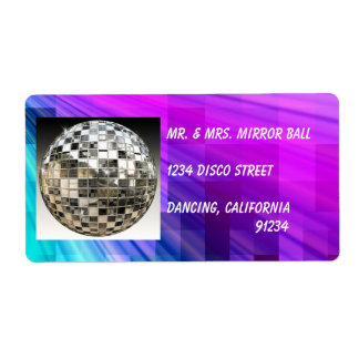 Mirror Ball Disco Party Colorful Labels