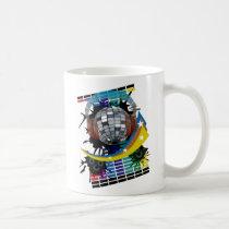 mirror-ball, club, disco, hip-hop, music, art, illustration, graphic, design, techno, house-music, rock, dance, 1980, 1970, 80s, 70s, soul, colorful, clubs, Mug with custom graphic design