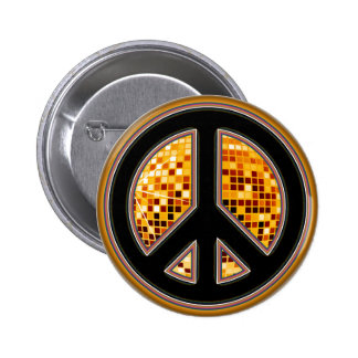 MIRROR BALL PEACE SIGN 2 INCH ROUND BUTTON