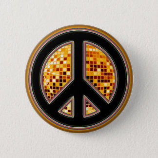 MIRROR BALL PEACE SIGN PINBACK BUTTON