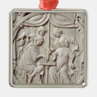 Mirror case depicting a game of chess, c.1300 metal ornament