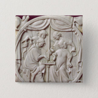 Mirror case depicting a game of chess, c.1300 pinback button