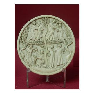 Mirror case depicting courtly scenes, c.1320-30 postcard