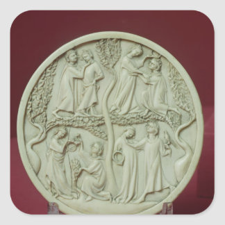 Mirror case depicting courtly scenes, c.1320-30 square sticker