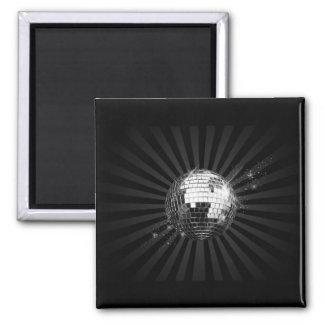 Mirror Disco Ball on Black 2 Inch Square Magnet