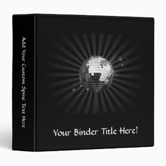 Mirror Disco Ball on Black 3 Ring Binder