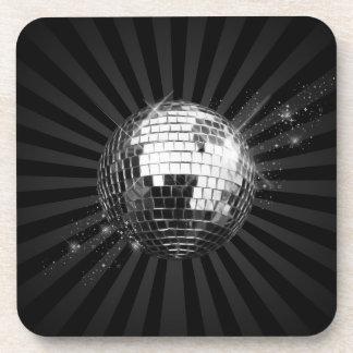 Mirror Disco Ball on Black Coaster