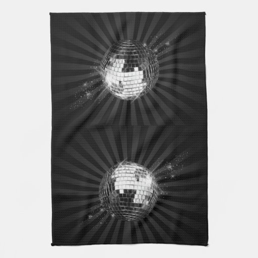 Mirror Disco Ball on Black Hand Towels
