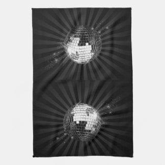 Mirror Disco Ball on Black Hand Towel