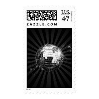Mirror Disco Ball on Black Postage