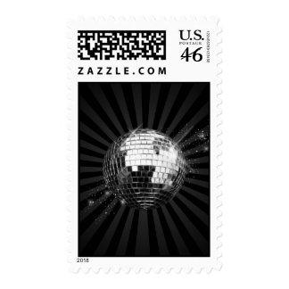 Mirror Disco Ball on Black Postage Stamp