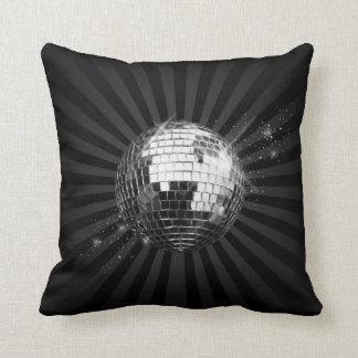 Mirror Disco Ball on Black Throw Pillow