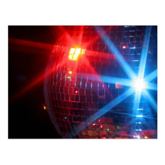 Mirror disco rotating ball with laser lights postcard
