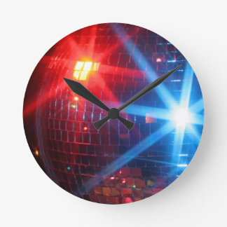 Mirror disco rotating ball with laser lights round clock