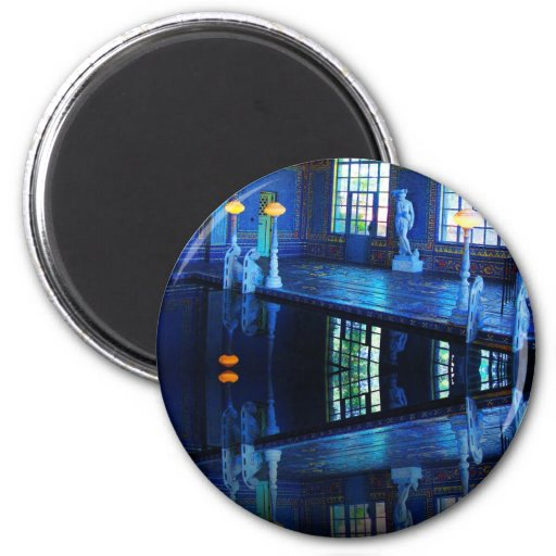 Mirror Image Hearst Castle Indoor Pool 2 Inch Round Magnet