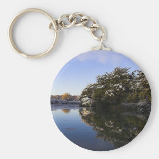 Mirror image basic round button keychain