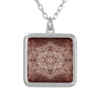Mirror image tree pattern square pendant necklace