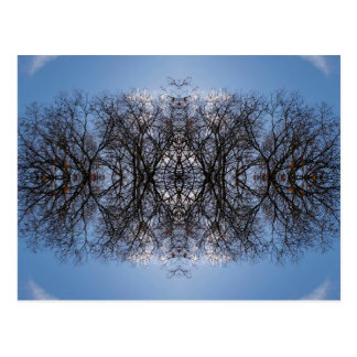 Mirror image tree pattern postcard