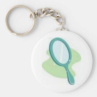 mirror basic round button keychain