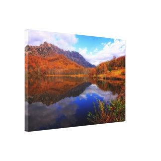 Mirror Lake Autumn Landscape Reflection Water Fall Canvas Print