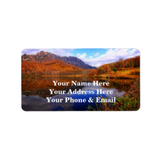 Mirror Lake Autumn Landscape Reflection Water Fall Label