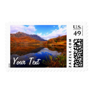 Mirror Lake Autumn Landscape Reflection Water Fall Postage Stamp
