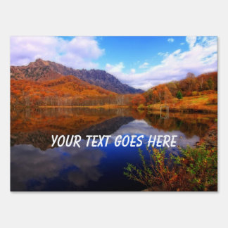 Mirror Lake Autumn Landscape Reflection Water Fall Lawn Sign