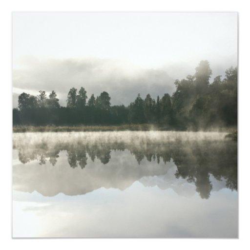 "Mirror Lake, Early Morning 5.25"" Square Invitation Card"