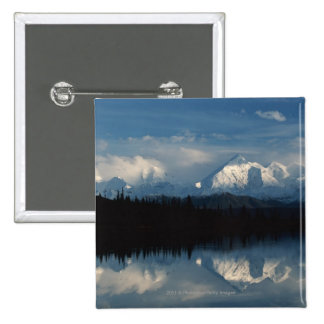 Mirror Lake Horizon with Forest & Snowy Mountains 2 Inch Square Button