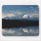 Mirror Lake Horizon with Forest & Snowy Mountains Mouse Pad