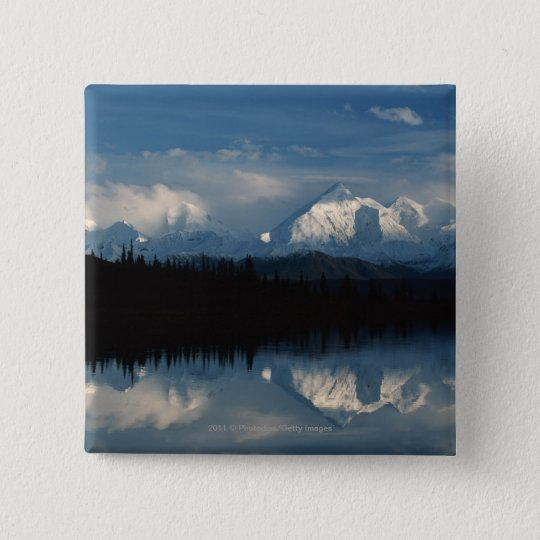 Mirror Lake Horizon with Forest & Snowy Mountains Pinback Button