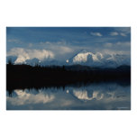 Mirror Lake Horizon with Forest & Snowy Mountains Poster