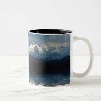 Mirror Lake Horizon with Forest & Snowy Mountains Two-Tone Coffee Mug