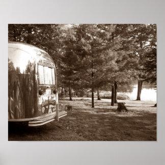 Mirror Lake Retro Camper Tin Can Sepia Print