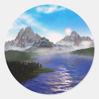 mirror lake round stickers